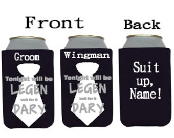 Personalized Bachelor Party Can Coolers LEGENDARY SUIT UP (Barney Stinson, Blacktie, Wingman, Groom)