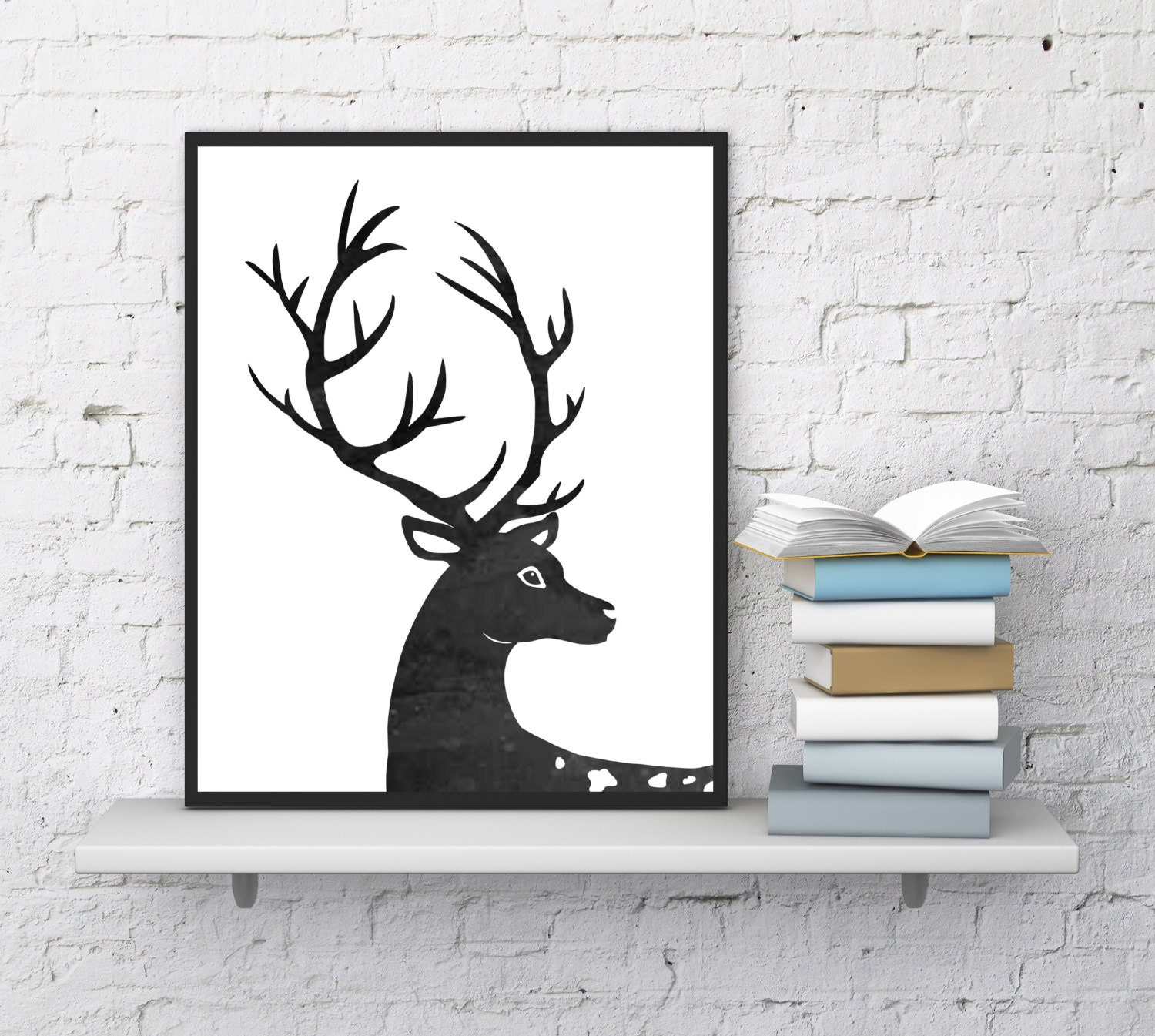 Wall Art Of Deer : Deer wall art print home decor by
