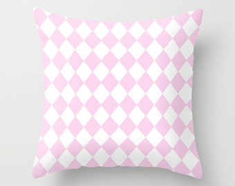 pastel pink and white harlequin pillow cover - modern cushion cover