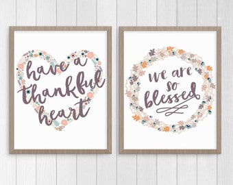 Thanksgiving Printable Decor Set, Thanksgiving Art, Thankful Print, Blessed Print, Fall Printable Decor, Instant Download Printable