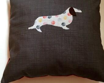 Handmade appliqué spotty dog cushion