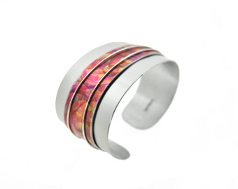 Aluminum bracelet, light weight, unique, original and colorful, handmade, red