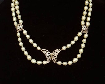 Pearl Half Double Strand Necklace with Butterfly and Earrings