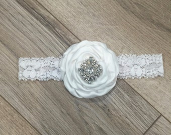 Flower girl headband christening headband baptism headband white headband girls headband baby headband white lace headband infant headband