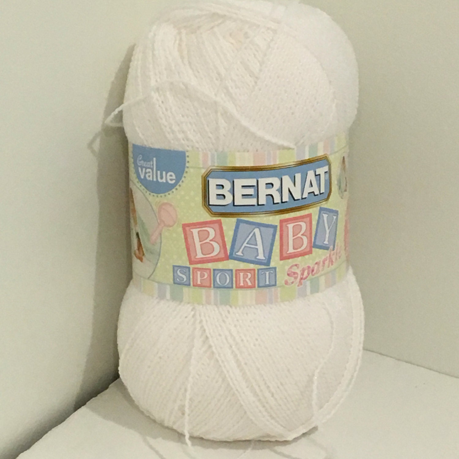 Knitting Patterns For Bernat Baby Sport Yarn : Bernat Baby Sport Big Ball Yarn white sparkle. 10.5 oz/300 g