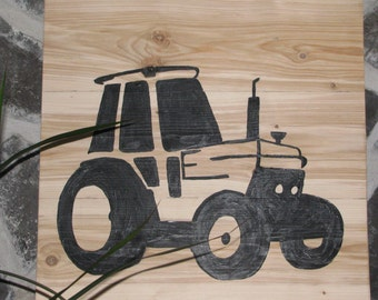 Natural wood with design of tractor frame