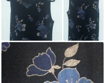 Vintage 90's Women's grunge floral dress sleeveless dress blue and tan flowers Women's Clothing Size Large