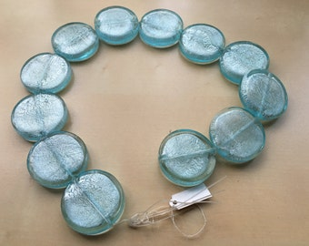 12 x Indian Foil Disc Beads - baby blue