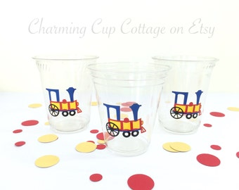 Train Party Cups/Vintage Train Party/Party Cups/Train Birthday Supplies/Birthday Party Cups/Train Baby Shower Party Cups/Circus Party Cups