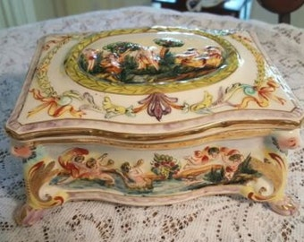 REDUCED..RARE Vintage Footed Capodimonte Dresser Box