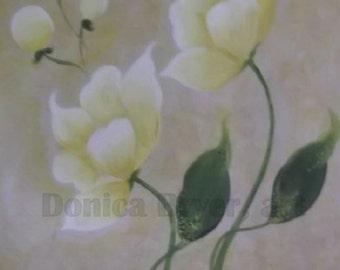 Original, Hand-Painted Flowers, Modern Art   -    White Gardenia's