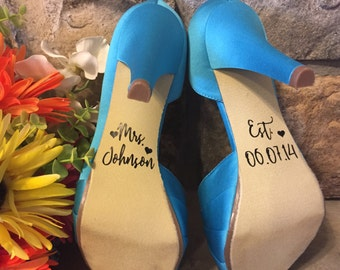 Wedding Shoe Decal- Shoe Decals for Wedding- Personalized Wedding Decal