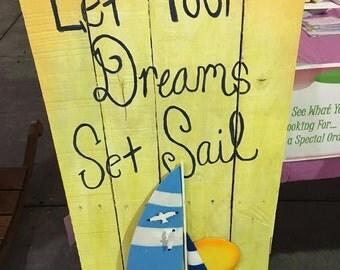 Handmade sailboat painted board