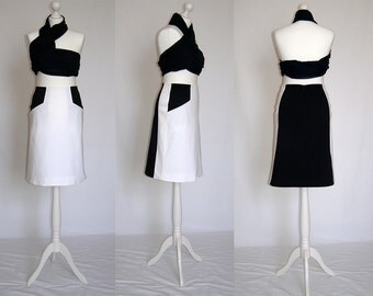SALE Elegant, casual, navy, ivory, white, A line, with pocket skirt Size UK 10, 12, 14 / US 6, 8, 10