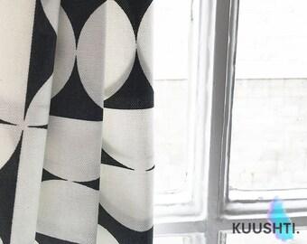Black and White Drapes- Hand Made- Curtains- Modern Drapes- Curtain panels- Scandinavian drapes- Made to measure drapes- Marimekko Style