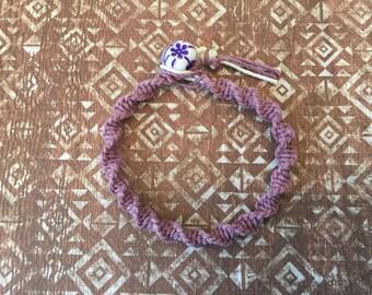 Purple hemp flower bracelet.