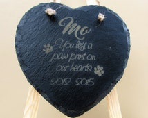 Pet memorial plaque ; personalised; slate; stone; engraved; love heart; plaque, burial marker; dog; cat; rabbit; paw print on our hearts