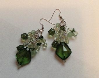 Green Beaded Earrings