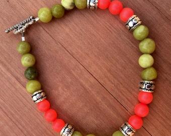 Neon Red Bead Bracelet