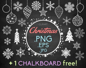 Snowflakes clipart Christmas + 1 FREE chalkboard: Christmas ice decorations balls trees and a starry frame snow flake PNG · instant download