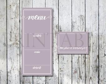 Mauve Printable Wedding Menu and Placecard Set