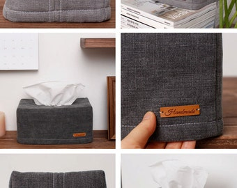 Washed Linen tissue box cover Housewarming Kleenex box cover, home decor, tissue box cover, grey tissue box cover nursery, housewarming gift