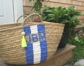 Monogrammed Straw Basket with Tassel **July Promo 20%  Use Code July2016**