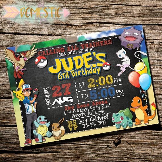 pokemon invitations pokemon birthday invites pokemon go  etsy, Party invitations