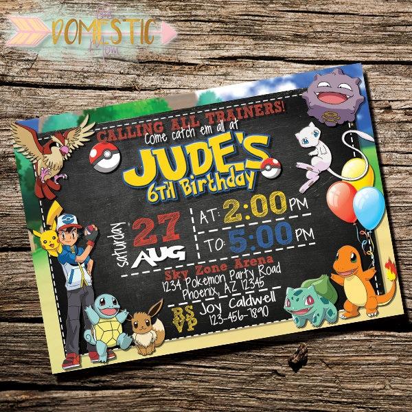 pokemon birthday  etsy, Birthday invitations