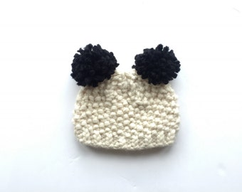 Chunky Baby beanie Cream/Pom Pom/Baby knitted hat/ toddler knitted hat