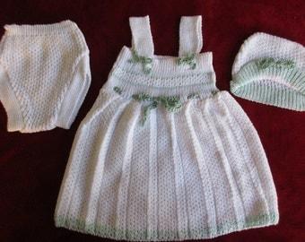 Beautiful Summer dress machine knitting for Newborn baby girl.