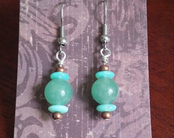Jade, copper, and glass on Sterling Silver w/Surgical steel ear wire