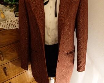 Vintage Plum Baroque Patterned Evening Jacket