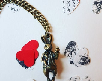 Alice in Wonderland White Rabbit necklace, Rabbit necklace, Alice in Wonderland gift, Tea Part Gift, Afternoon Tea Favour, Bunny Necklace
