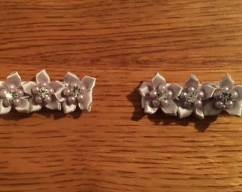 Handcrafted Hair Clips - Gray flowers with crystal accent in center. White fabric covered alligator hair clip