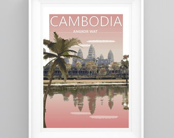 Vintage Travel Poster Angkor Wat, Cambodia- Temple. Handmade, A4 or A3 size, CUSTOMISABLE
