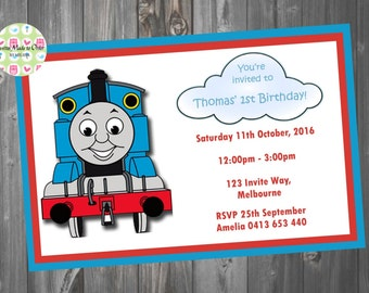 Thomas the tank boys Birthday Invitation Blue and Red
