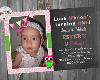 Chalkboard Invitation with photo and bunting flag with owl