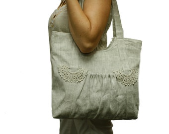 Neutral Linen Bag with with knited elements