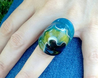 Three colorful Crystal ring