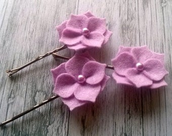 Lilac Flower hair clips, Bridesmaid bobby pins, Lilac Hydrangea hair clips, wedding hair clips, lilac flower bobby pins, Wisteria hair clips