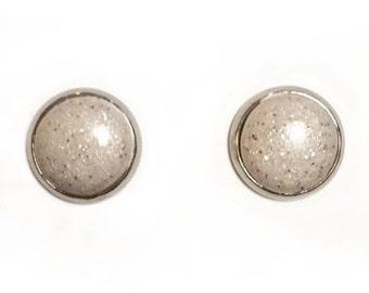 Handmade polymer clay earrings-  Pearly glitter, bezel set.