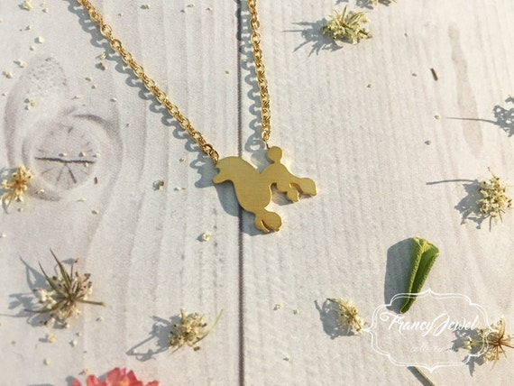 Gold poodle necklace, dog shaped necklace, gold poodle charm, dog jewelry, gold plated animal jewelry, pet jewel, nature inspired