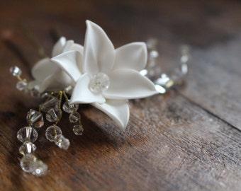 Lily Clay flower with Swarovski Bicone Crystals