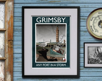 Grimsby: Any Port In A Storm - A3 Rubbish Seaside print (signed and dated)