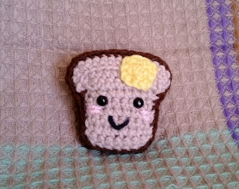 Crocheted Happy Buttered Toast Amigurumi