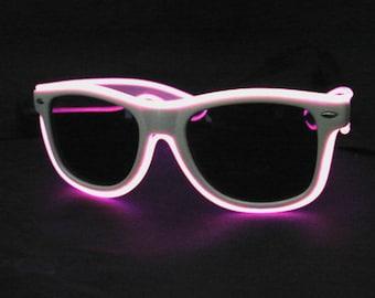 Multi-mode Wayfarer EL Wire Sunglasses for Rave Wear, EDM Wear, Concerts, EDC, Burning Man Costumes, etc.
