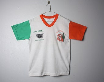 Vintage Orange and Green 4 Wall U.S.H.A. Championship Two Tone T-shirt/Tee