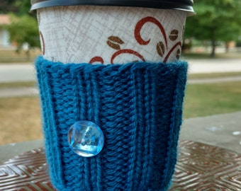 Coffee Cozy: Blue with Blue Button