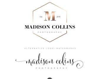Photography logo, Rose gold logo, Watermark, Branding kit, Monogram logo design, Premade logo, Photograph Branding package, Logo design, 27